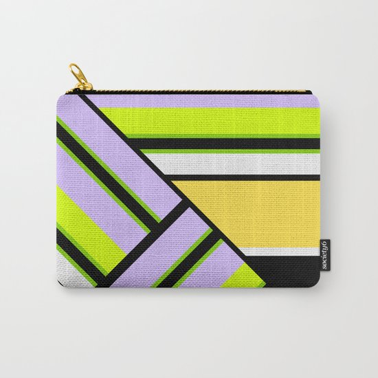 Striped , multi-colored , asymmetric combination pattern . Patchwork . Carry-All Pouch