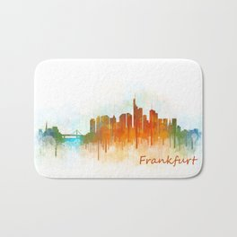 Frankfurt am Main, City Cityscape Skyline watercolor art v3 Bath Mat