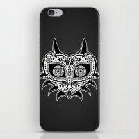 majoras mask iPhone & iPod Skins featuring Sugarskull / Majoras mask / black'n'white by tshirtsz