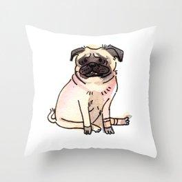 Katana - Pug Dog Watercolour Throw Pillow