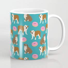 English Bulldog sprinkle pink donuts cute colorful children pets fur baby pet portrait bulldog gifts Coffee Mug