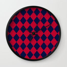 Red blue geometric pattern Wall Clock