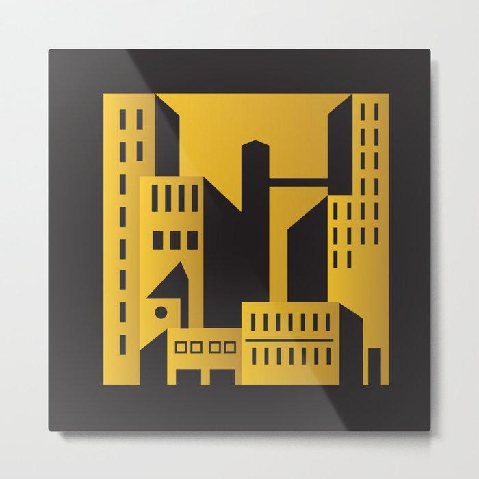 Golden city art deco Metal Print