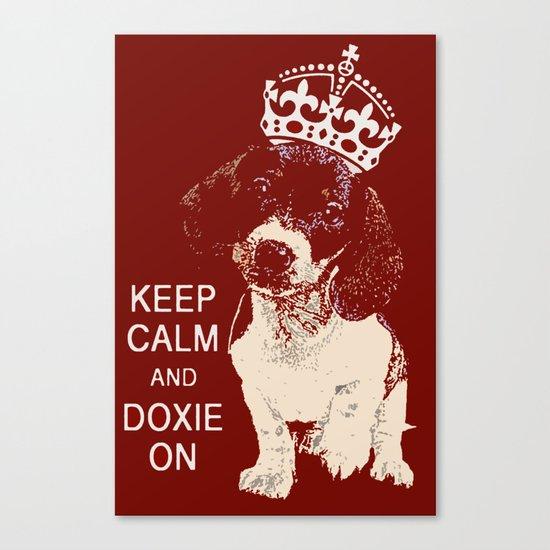 Keep Calm & Doxie On Canvas Print