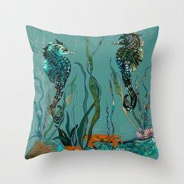 Sea Horse Haven.... Throw Pillow