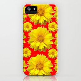 """YELLOW COREOPSIS """"TICK SEED"""" FLOWERS RED PATTERN iPhone Case"""