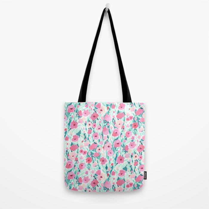 Flower Field Pink Mint Tote Bag