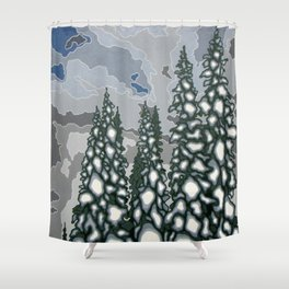 A Blue and Grey Day in Winter Shower Curtain