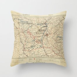 World War I German Army Positions Map (circa 1918) Throw Pillow