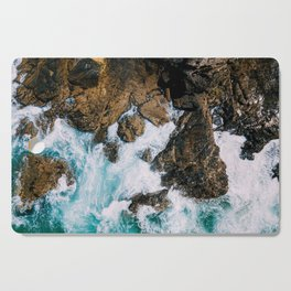 Ocean Waves Crushing On Rocky Landscape, Drone Photography, Aerial Landscape Photo, Ocean Wall Art Cutting Board