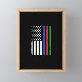 Thin Blue Red Green Line Police Firefighter Military Flag Framed Mini Art Print