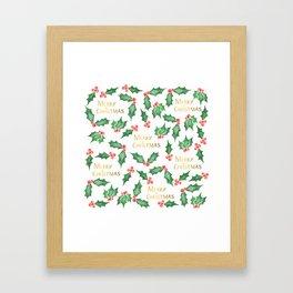 Snowy Christmas Holly Framed Art Print