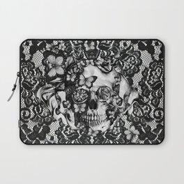 Rose skull on black lace base. Laptop Sleeve