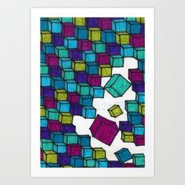 Impossible falling bricks Art Print