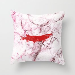 pike in the net (red version) Throw Pillow