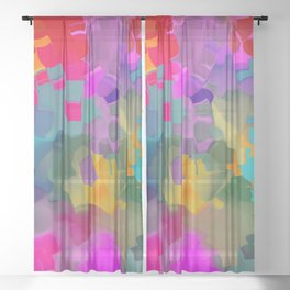 abstract floral with violet Sheer Curtain