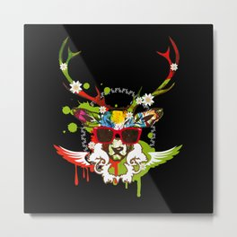 A stag's head with red sunglasses Metal Print