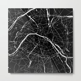 Paris France Minimal Street Map - Black on White Metal Print