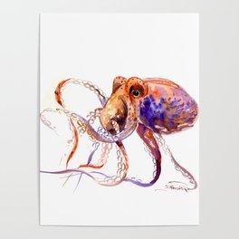 Octopus, orange purple aquatic animal design Poster