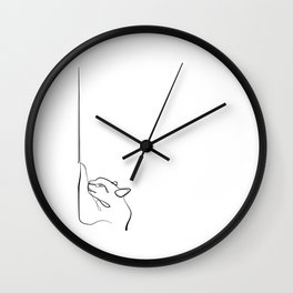 Cat sharpens nails in One line Art Wall Clock