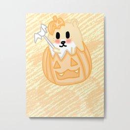 Kawaii Hamster in a Pumpkin Metal Print