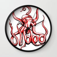 gangster Wall Clocks featuring Gangster Octopus by Milo Firewater