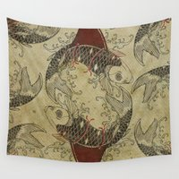 ying yang Wall Tapestries featuring ying and yang shark fin goldfish by Vin Zzep