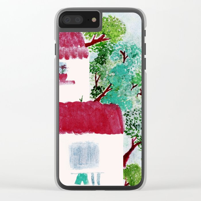Village houses in the woods watercolor Clear iPhone Case