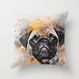 Pug Puppy Using Watercolor On Raw Canvas Throw Pillow