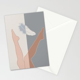 Falling Angel-Legs-Feather Stationery Cards