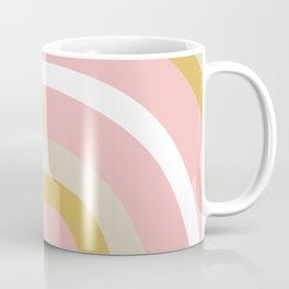 Splendid Rainbow in Golden Mustard Yellow, Pink, Taupe, and White Coffee Mug