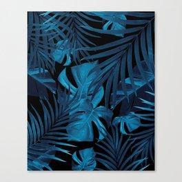 Tropical Jungle Night Leaves Pattern #2 #tropical #decor #art #society6 Canvas Print