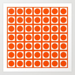 Vermillion Elegant Grid Dots Art Print