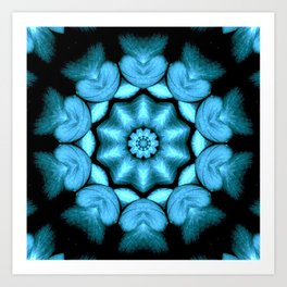 Blue Green Heart Mandala Kaleidoscope Pattern Art Print
