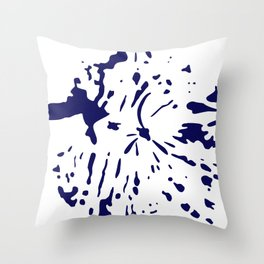 dark blue ink splatter Throw Pillow