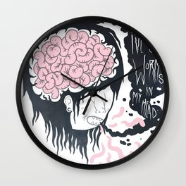 ive got worms in my head Wall Clock