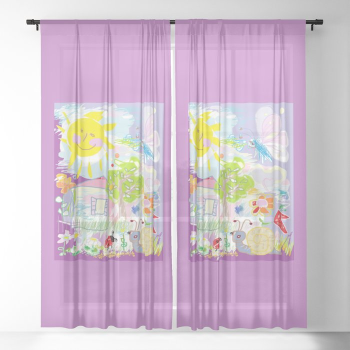 My Hy World Doodle For Children Room Nursery Home Decor Sheer Curtain By Canisart
