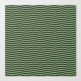 Dark Forest Green Chevron Zigzag Stripes Canvas Print