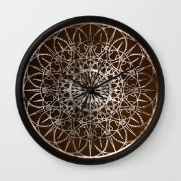 Fire Blossom - Brown Wall Clock