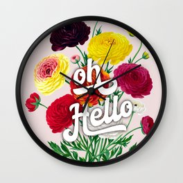 oh Hello vintage spring flowers Wall Clock