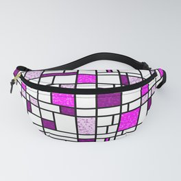Modern Art Pink and Purple Speckled Grid Pattern Fanny Pack