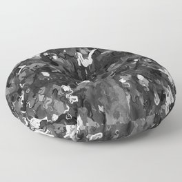 Abstract Foliage in Black and White Floor Pillow