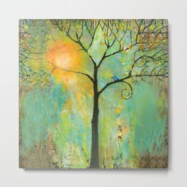 Hello Sunshine Tree Metal Print