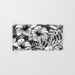 Black and White Tropical Floral Hand & Bath Towel