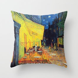 Vincent Van Gogh - Cafe Terrace at Night (new color edit) Throw Pillow