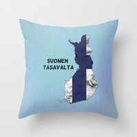 finland Throw Pillows featuring Finland / Suomen Tasavalta by Dandy Octopus