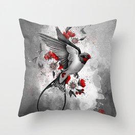swallows and sakuras Throw Pillow