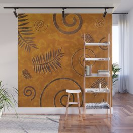 Graphic Fossil Leaf and Shell Shapes Red Sand Pattern Wall Mural