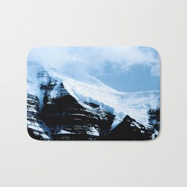 Dramatic Glacier Mountaintop Snow Framed By Billowy Clouds Bath Mat