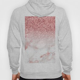 Rose-gold faux glitter and marble ombre Hoody